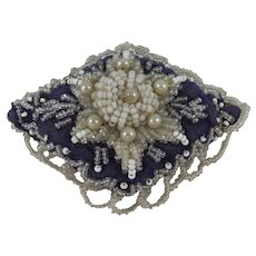 Small Diamond-Shaped & Beaded Victorian Pin Cushion, Very Pretty