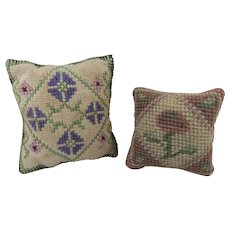 Pair of Small Hand-Stitched Square Antique/Vintage Pin Cushions