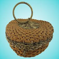 Small Antique Wirework and Braided Straw Sewing Basket
