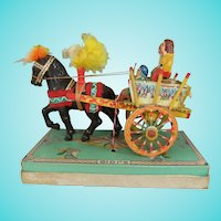 Vintage Miniature Folk Art Painted Wood Sicilian Cart, 4 Inches High