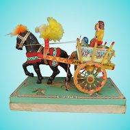 Vintage Miniature Folk Art Painted Wood Sicilian Cart, 4 Inches High