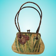 Tiny Antique French Painted Leather Doll Purse