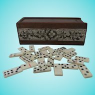 Antique Set of Miniature Dominoes in Beautiful Mahogany Box