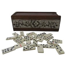 Antique Set of Miniature Dominoes in Beautiful Mahogany Box