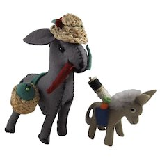 Pair Adorable Vintage Felt Donkeys, Pin Cushions & Sewing Accessories