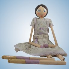 Fabulous & Unusual Vintage Artist-Made Papier Mache Doll, 22 Inches