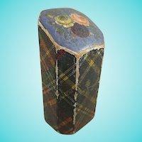 19th Century Mauchline Tartan Ware Needle or Pin Case, 2 ¼ Inches High
