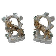 Tiny Pair Old China Flatbacks Featuring Gold Lustre Lambs, 2 ¼ Inches High