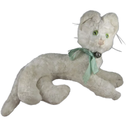 Gorgeous Vintage Plush Cat, White with Green Glass Eyes