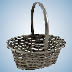 Old Miniature Silver Metal Basket for Doll, 3 ¼ Inches High