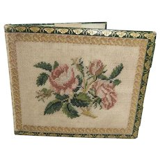 Beautiful 19th Century Petit Point & Gold-Tooled Leather Aide Memoire/ Notebook