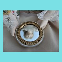 Tiny Antique Carved Mother of Pearl & Gilt Metal Doll Mirror