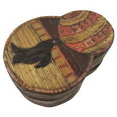 Small Vintage Straw Work Box with Sea Lion Motif on Lid
