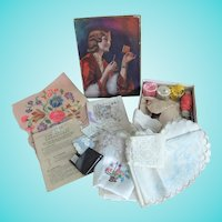 Vintage Sewing Box & Contents Including Embroidered Handkerchief Trimmed With Wedding Dress Lace
