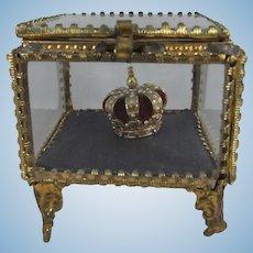 Vintage Miniature Crown in Antique Gilt & Glass Vitrine/Display Case