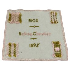 Small Antique Darning Sampler, 6 ½ Inches by 5 ½ Inches, Selina Chester, 1895