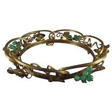 Antique French Gilded Brass Garland Tiara Crown