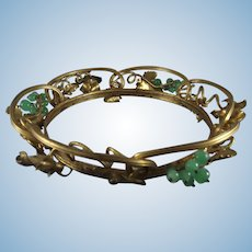 Antique French Gilded Brass Garland Tiara Crown