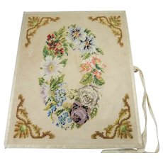 Pretty Period Desk Blotter, Front & Back Covers Worked in Silk Tent Stitch