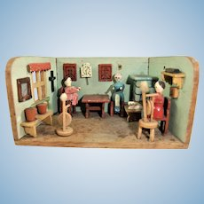 Antique Erzgebirge Miniature Kitchen Diorama
