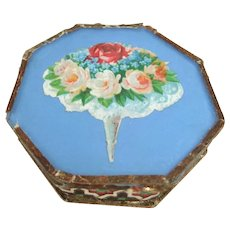 Pretty 19th Century Octagonal Box with Glass Lid, 2 ½ Inches