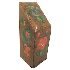 Spa Ware Slant Top Needle Packet Box With 4 Sides of Painted Floral Decoration