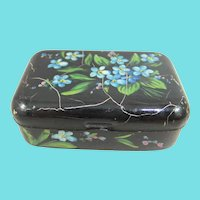 Tiny 19th Century Metal Love Token Box/Chest, Hand-painted with Forget-Me-Nots