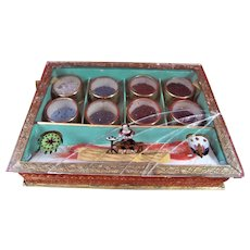 Rare Early Victorian Bead Box With 8 Separate Boxes Containing Tiny Glass Beads