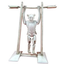 Antique Articulated Chinese Carved Bone Acrobat Toy, 3 ½ Inches