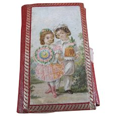 Sweet 19th Century Needle Case in Red Leather Featuring Children
