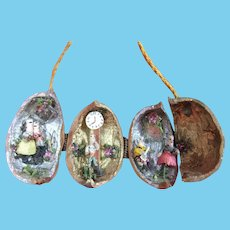 Vintage Miniature Garden & Dolls Contained Inside a Real Walnut Shell