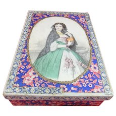 Lovely Mid-19th Century Box With Hand-Coloured Lithographic Image of Young Lady