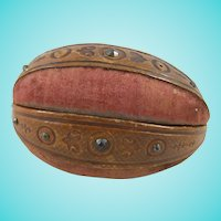 Unusual Mid-19th Century Novelty Sewing Companion In Shape of Rugby/American Football