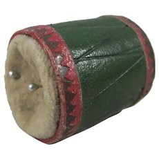 Antique Novelty Leather Military Drum Pin Cushion, 1 ¼ Inches