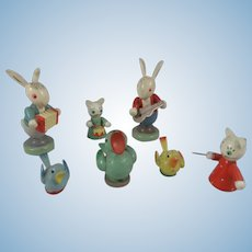Vintage Erzgebirge 8 Piece Band of Rabbits, Cats & Birds