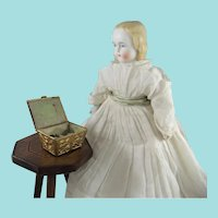 Tiny Embossed Antique Gilt Metal Sewing Box For Doll, 2 Inches Wide