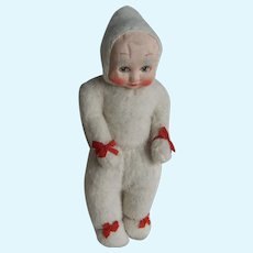 Adorable 1930s English Wool Plush Baby Bunting Pixie Doll, 11 Inches
