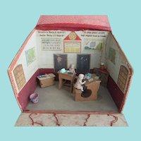 Rare & Adorable Miniature French Schoolhouse, Dolls & Furniture, 1910