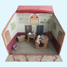 Rare & Adorable Miniature French Schoolhouse, Dolls & Furniture, 1910