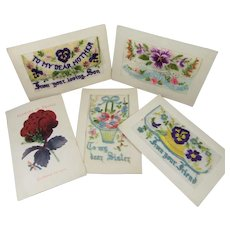 5 x WWI Silk Embroidered & Fabric Postcards, 1914 to 1918