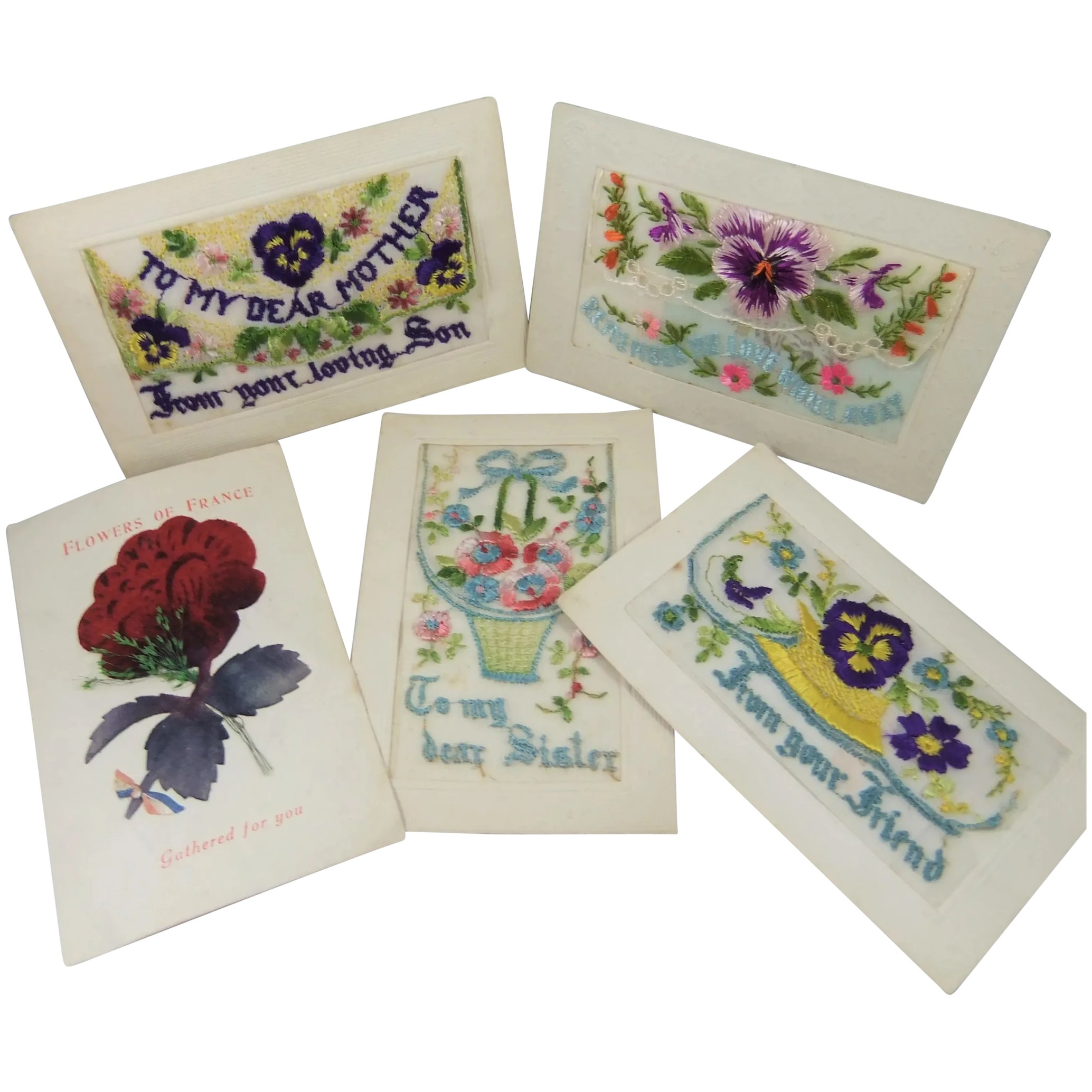 5 X Wwi Silk Embroidered Fabric Postcards 1914 To 1918 Edwina S Friends Ruby Lane