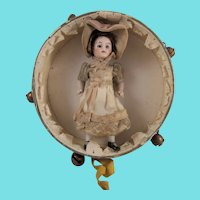 Enchanting Mignonette, 3 ½ Inches, Presented In Antique Tambourine Toy