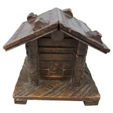 Antique Alpine Chalet-Style Thimble Box & Thimble