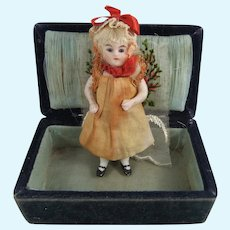Tiny All Bisque German Doll, 3 ¾ Inches, In Velvet & Silver-Plated Box