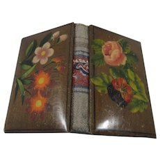 19th Century Spa Work Needle Book With Painted Florals Front & Back