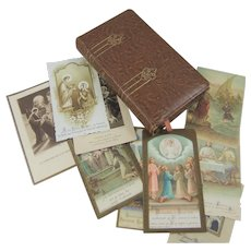 Beautiful Illustrated Leather-Bound French Missal & 9 Religious Cards
