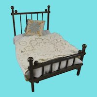 Vintage Brass Doll House Bed With Mattress , Bedding & Hand Embroidered Pillow