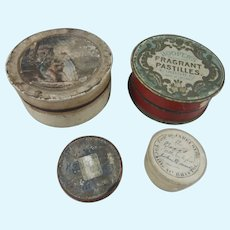 4 Small Antique Boxes, Ideal Size For Doll Hats & Accessories