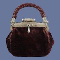 Gorgeous Edwardian Velvet & Leather Doll Purse/Travel Bag