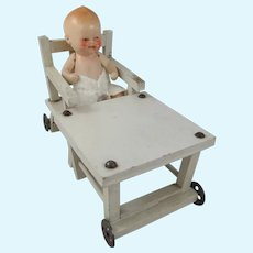 Cute Antique/Vintage Painted Wooden Metamorphic Baby Chair & 3-Inch Baby Doll